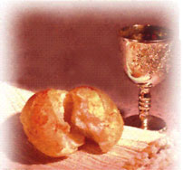 Holy Communion cup and bread