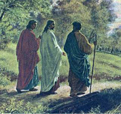 two disciples walking with Jesus